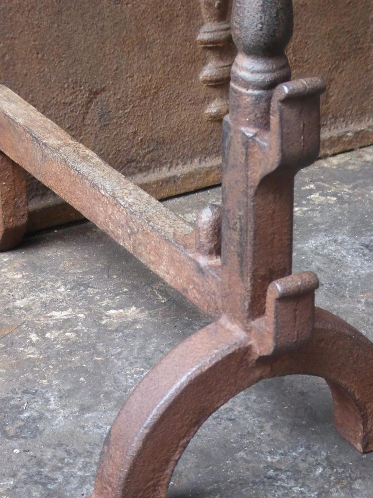 Iron French Gothic Style Andirons or Firedogs For Sale