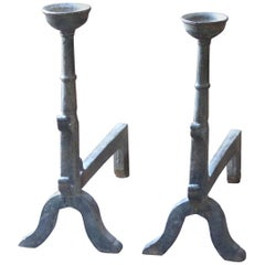 French Gothic Style Andirons or Firedogs