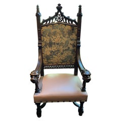 French Gothic-Style Antique High Back Carved Chair