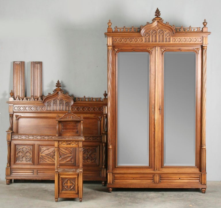 French Gothic Style Bedroom Set, Carved Walnut End of the 19th Century