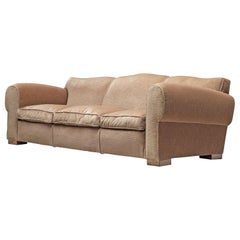 French Grand Art Deco Sofa in Taupe Velvet by Maurice Rinck