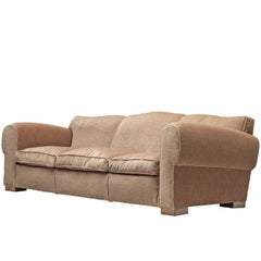French Grand Art Deco Sofa in Taupe Velvet