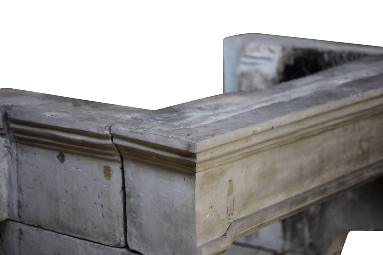 French Grand Country Limestone Antique Fireplace Surround In Excellent Condition For Sale In Beervelde, BE