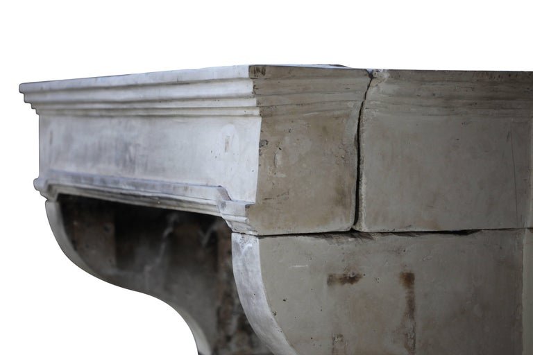 18th Century and Earlier French Grand Country Limestone Antique Fireplace Surround For Sale