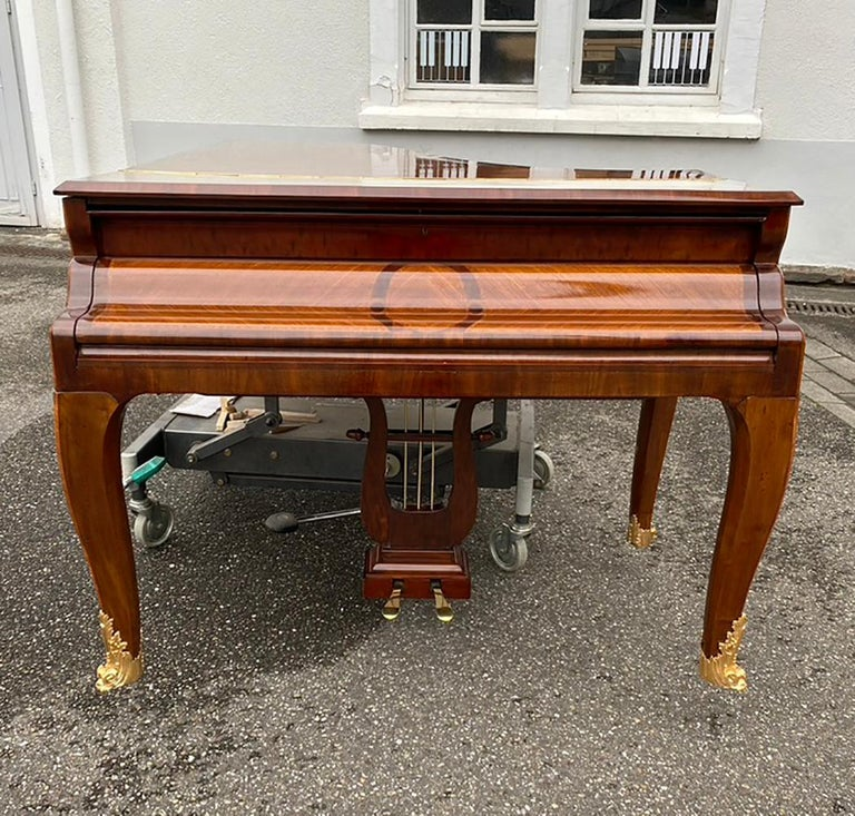 Gilt French Grand Piano Mercier Louis XV Ormolu Bronzes Marquetry Mahogany Rosewood  For Sale
