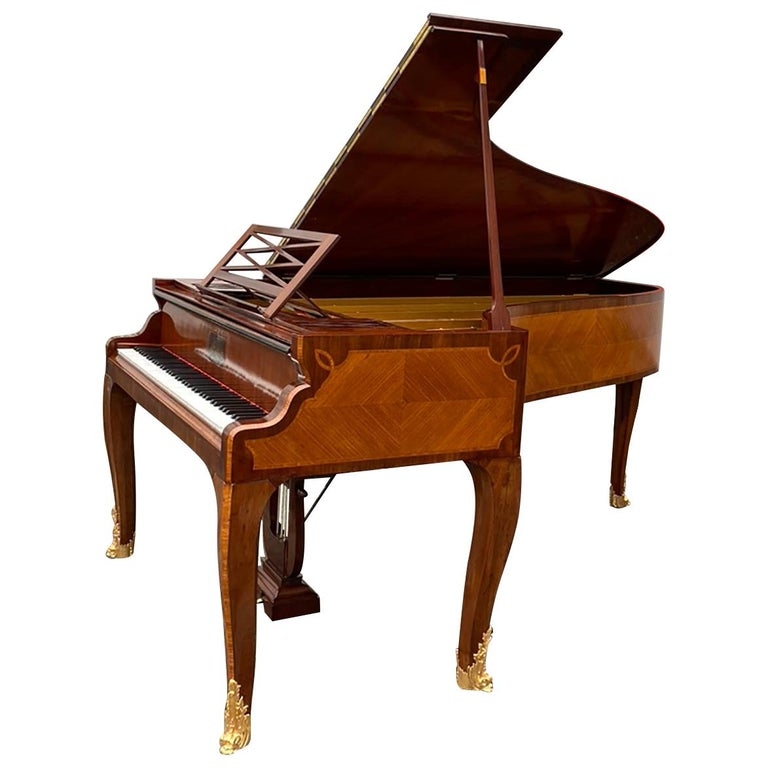 French Grand Piano Mercier Louis XV Ormolu Bronzes Marquetry Mahogany Rosewood  For Sale