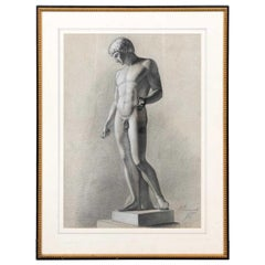 French Grand Tour Study Drawing of an Roman Antiquity Sculpture of a Youth