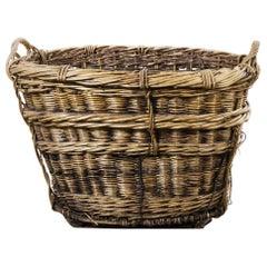 French Grape Pickers Rattan, Wicker Harvest Basket