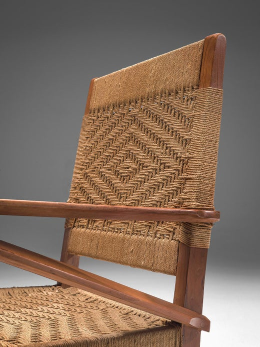 Egg Chair Rotan.French Graphical Lounge Chairs In Oak And Rotan At 1stdibs