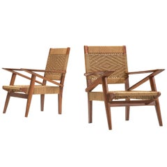 French Graphical Lounge Chairs in Oak and Rotan