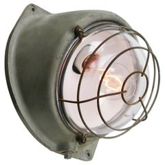 French Gray Cast Iron Vintage Industrial Clear Glass Wall Lamp Scone by Mapelec