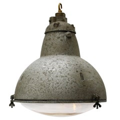French Gray Metal Round Clear Glass Vintage Industrial Pendant Light