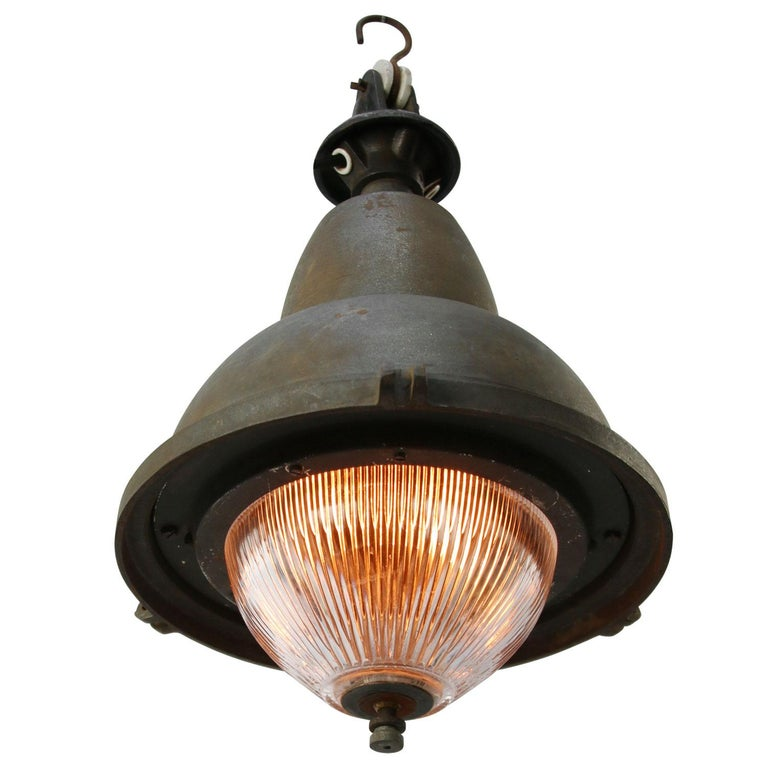 Cast French Gray Vintage Industrial Iron Round Holophane Glass Pendant Light For Sale