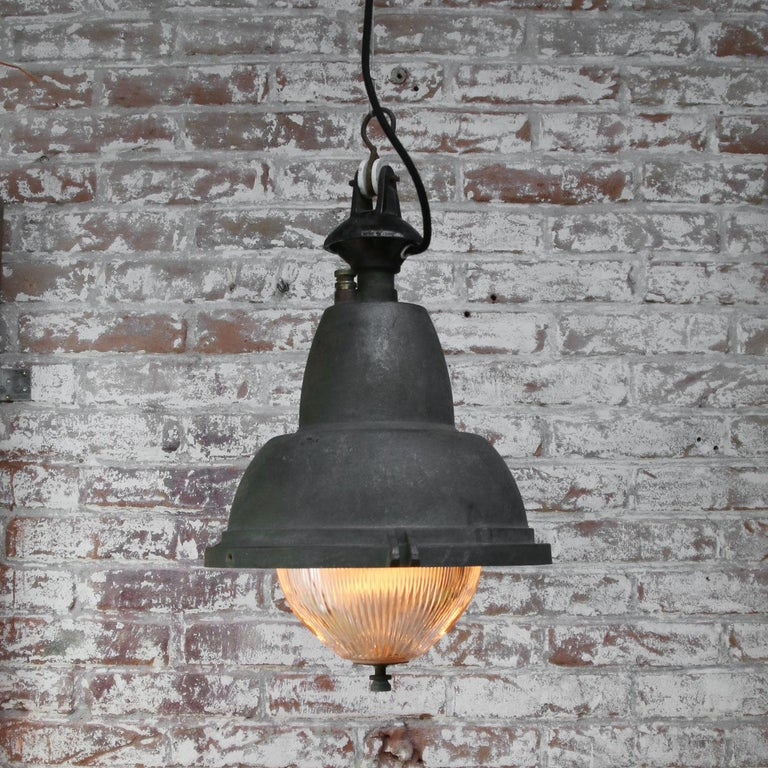 20th Century French Gray Vintage Industrial Iron Round Holophane Glass Pendant Light For Sale