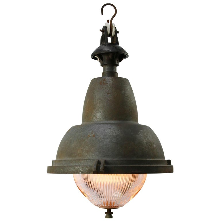 French Gray Vintage Industrial Iron Round Holophane Glass Pendant Light For Sale