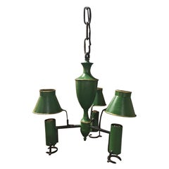 French Green and Gold Painted Tole Chandelier, Early 20th Century