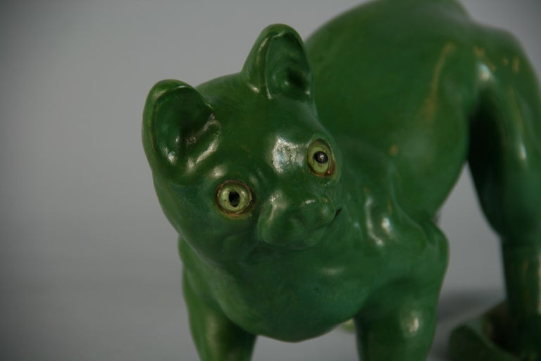 French Green Cat Ceramic Sculpture In Good Condition For Sale In Douglas Manor, NY