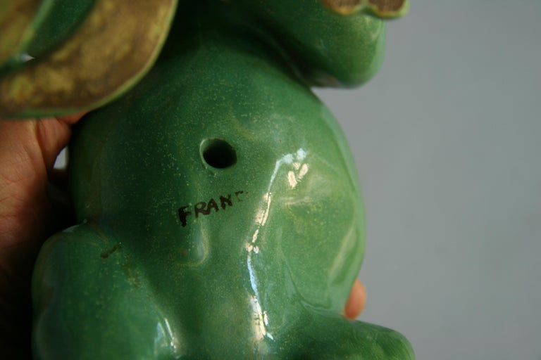 French Green Cat Ceramic Sculpture For Sale 3