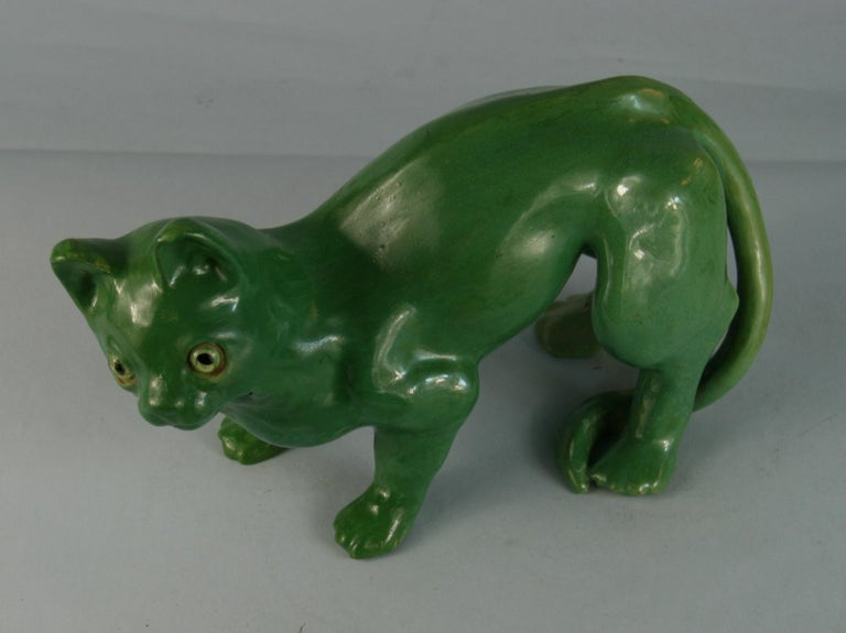 French Green Cat Ceramic Sculpture For Sale 4