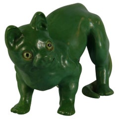 French Green Cat Ceramic Sculpture
