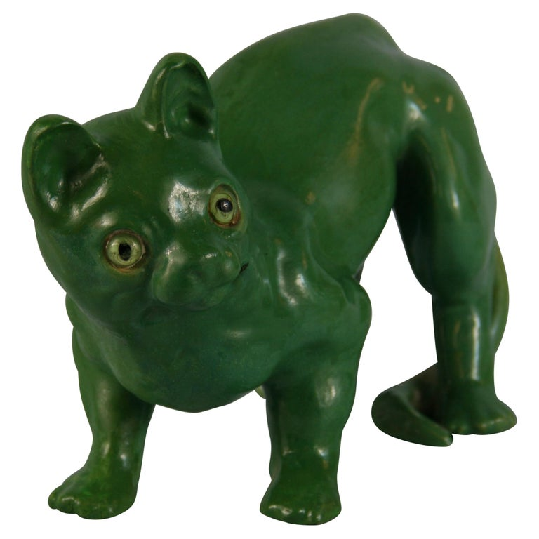French Green Cat Ceramic Sculpture For Sale