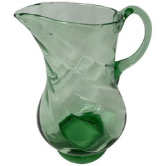 French Green Crystal Pitcher