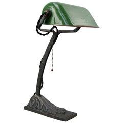 French Green Enamel Vintage Industrial Work Light Table Desk Light