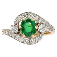 French Green Garnet Diamonds 18 Karat Yellow Gold Ring