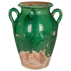 French Green Glazed Terracotta Confit Pot