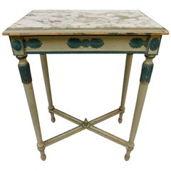 French Green Grey Painted Directoire Style Table with Marble Top