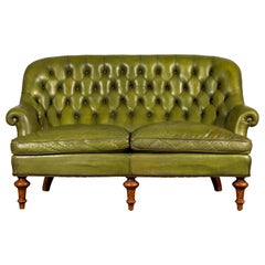 French Green Leather Tufted Settee
