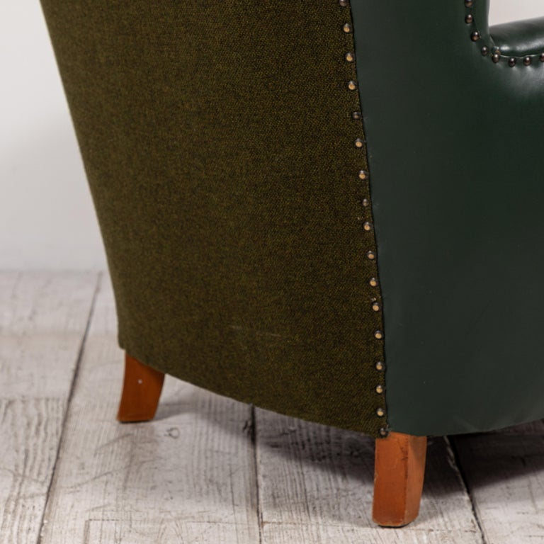 French Green Leather Wingback Chair For Sale 6