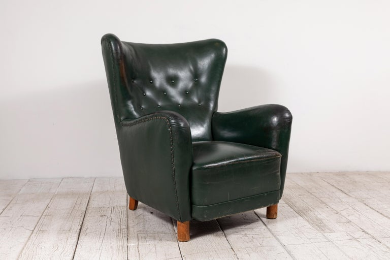 French Green Leather Wingback Chair In Good Condition For Sale In Los Angeles, CA