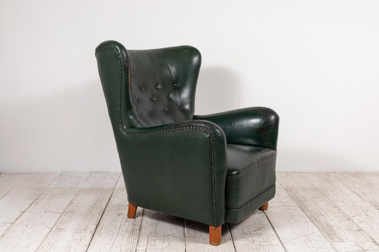 20th Century French Green Leather Wingback Chair For Sale