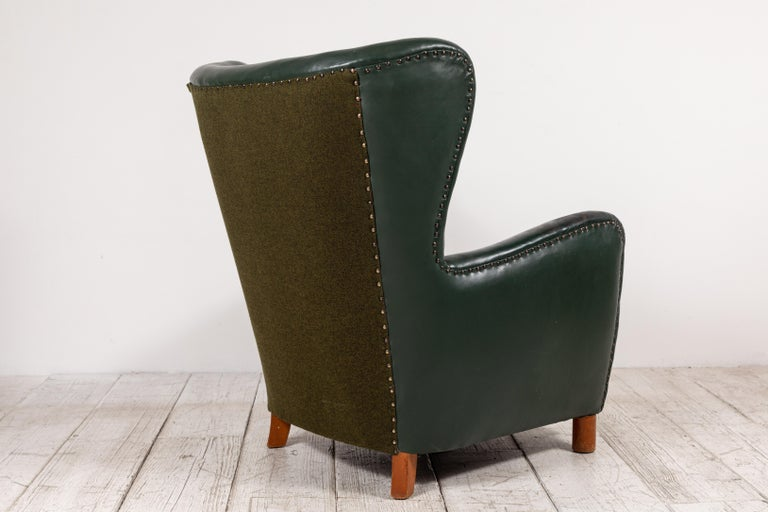 French Green Leather Wingback Chair For Sale 1