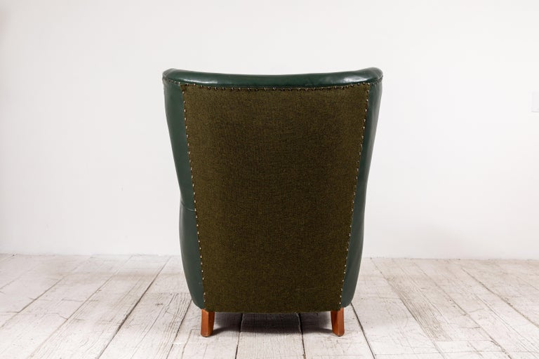 French Green Leather Wingback Chair For Sale 2