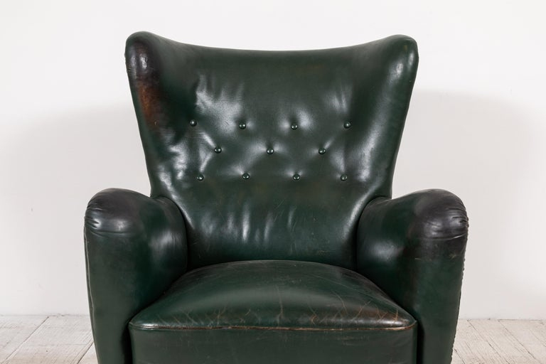 French Green Leather Wingback Chair For Sale 3