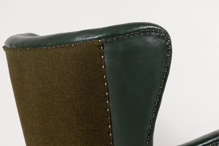 French Green Leather Wingback Chair For Sale 4