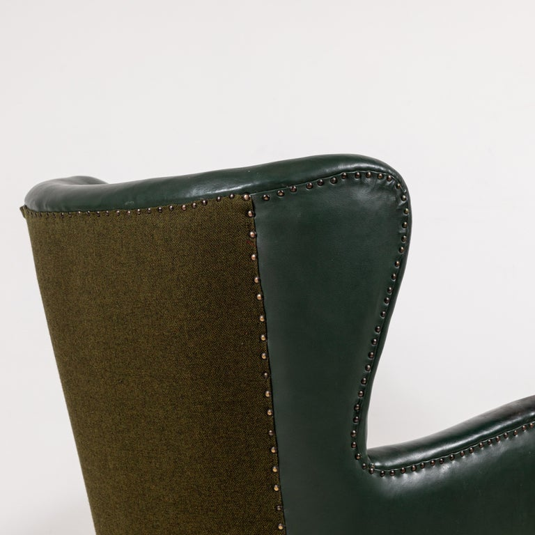 French Green Leather Wingback Chair For Sale 5