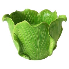 French Green Lettuce or Cabbage Leaf Cachepot by Jean Roger, Paris, France