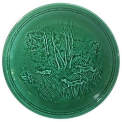 French Green Majolica Deer and Dogs Plate Sarreguemines, circa 1920