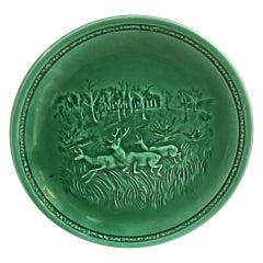 French Green Majolica Deers Plate Sarreguemines, circa 1920
