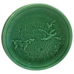 French Green Majolica Ducks and Hunting Dog Plate Sarreguemines, circa 1920