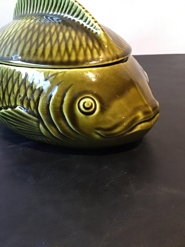 French Green Majolica Fish Tureen by Sarreguemines For Sale 6