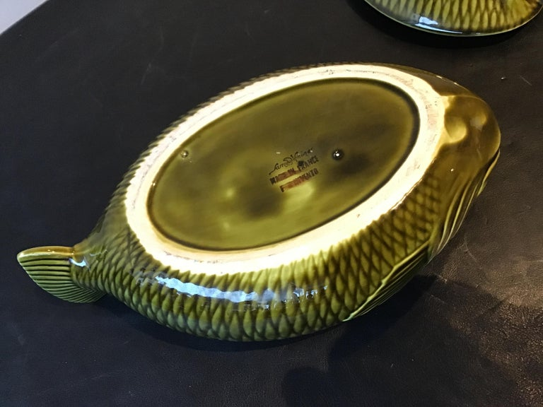 French Green Majolica Fish Tureen by Sarreguemines For Sale 4