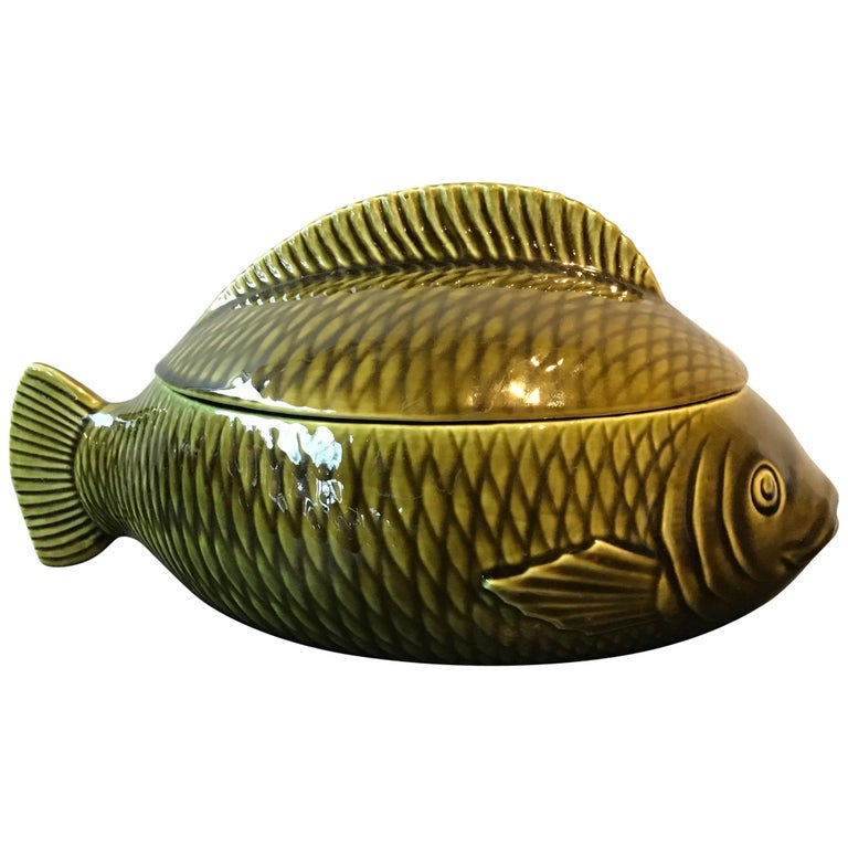 French Green Majolica Fish Tureen by Sarreguemines For Sale