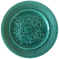 French Green Majolica Fruits Plate, circa 1890
