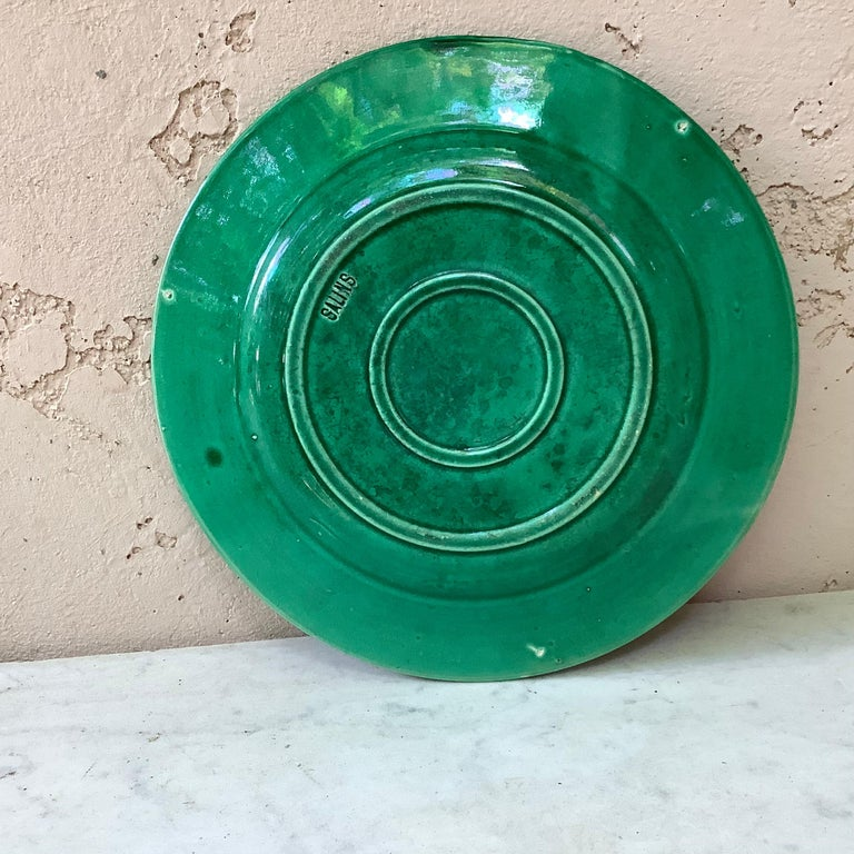 Late 19th Century French Green Majolica Fruits Plate Salins, circa 1880 For Sale