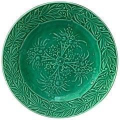 French Green Majolica Fruits Plate Salins, circa 1880