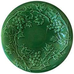 French Green Majolica Grapes Plate, circa 1880